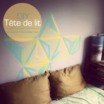tete de lit, scotch, décoratif, masking, tape