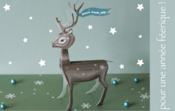carte, voeux, 2012, paper, toy, cerf